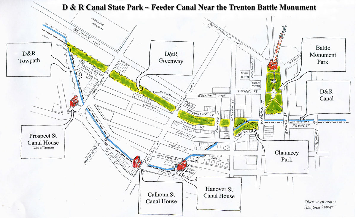 Feeder Canal Near the Trenton Battle Monument Hand Drawn Map
